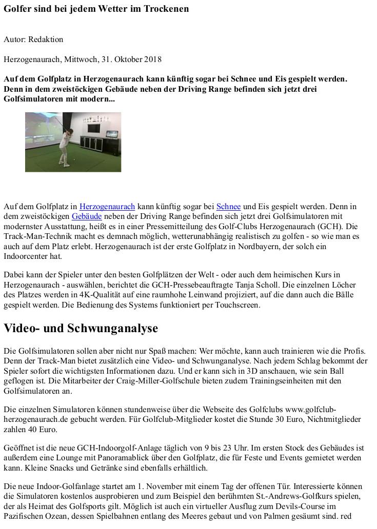 Presseberichte Golf Club Herzogenaurach